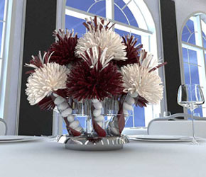 Burgundy and White Centerpiece