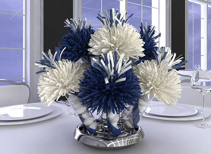 Wanderfuls Royal Blue and White Bar Mitzvah Centerpieces