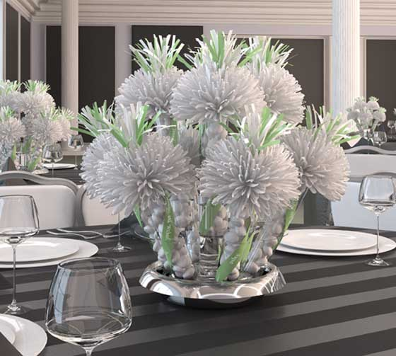 Mint and White Bridal Shower Centerpieces
